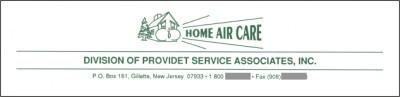[Original Letterhead for Home Air Care]
